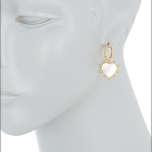 NIB Tory Burch Heart Mother Pearl Earrings